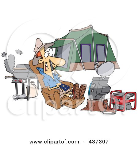 Royalty-Free (RF) Clipart Illustration of a Cartoon Man Watching Tv Hooked Up To A Generator At His Camp Site by toonaday