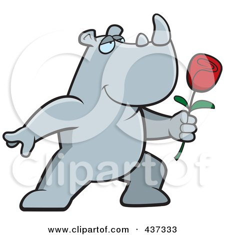 Royalty-Free (RF) Clipart Illustration of a Romantic Rhino Presenting A Single Rose by Cory Thoman