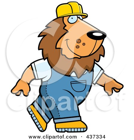 Royalty-Free (RF) Clipart Illustration of a Builder Lion Walking by Cory Thoman
