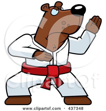 Royalty-Free (RF) Clipart Illustration of a Karate Bear With A Red Belt by Cory Thoman