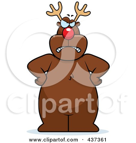 Royalty-Free (RF) Clipart Illustration of a Mad Rudolph Standing With His Hands On His Hips by Cory Thoman
