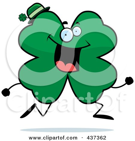 Royalty-Free (RF) Clipart Illustration of a Shamrock Clover Character Running by Cory Thoman