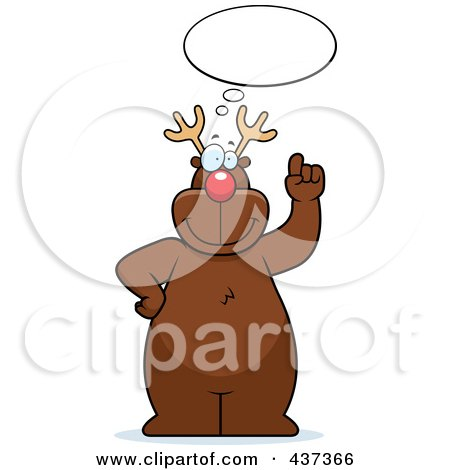 Royalty-Free (RF) Clipart Illustration of Rudolph Standing Under A Thought Balloon by Cory Thoman