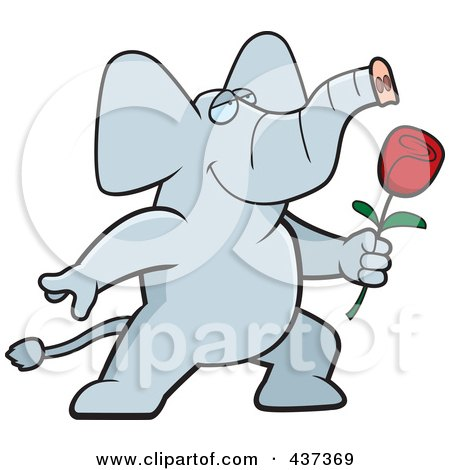 Royalty-Free (RF) Clipart Illustration of a Romantic Elephant Presenting A Single Rose by Cory Thoman