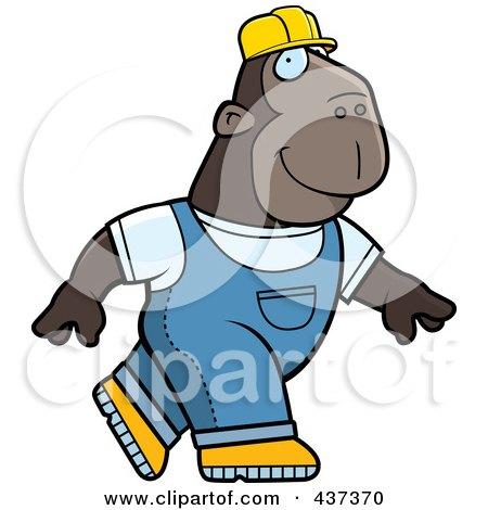 Royalty-Free (RF) Clipart Illustration of a Builder Ape Walking by Cory Thoman