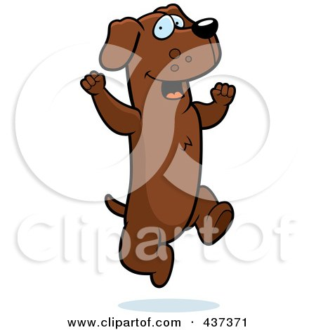 Royalty-Free (RF) Clipart Illustration of an Excited Dachshund Jumping by Cory Thoman