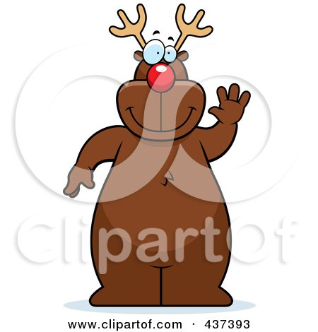 Royalty-Free (RF) Clipart Illustration of Rudolph Standing And Waving by Cory Thoman