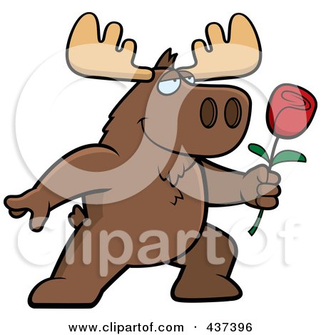 Royalty-Free (RF) Clipart Illustration of a Romantic Moose Presenting A Single Rose by Cory Thoman