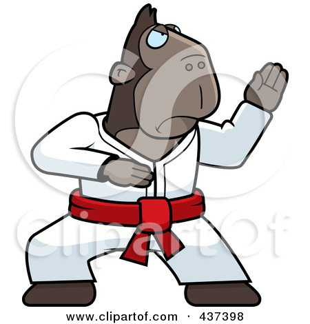 Royalty-Free (RF) Clipart Illustration of a Karate Ape With A Red Belt by Cory Thoman