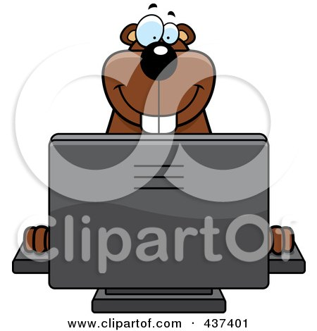 Royalty-Free (RF) Clipart Illustration of a Happy Gopher Using A Desktop Computer by Cory Thoman