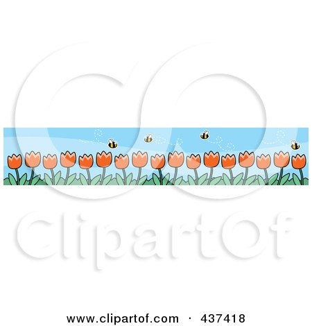 Royalty-Free (RF) Clipart Illustration of a Border Of Spring Tulips And Pollinating Bees by Cory Thoman