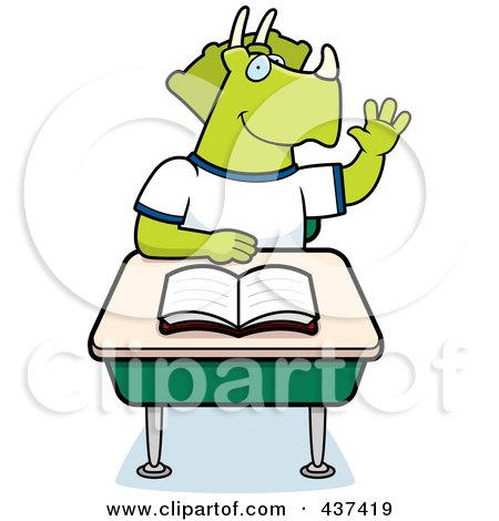 Royalty-Free (RF) Clipart Illustration of a Student Triceratops Raising His Hand In Class by Cory Thoman