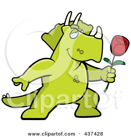 Royalty-Free (RF) Clipart Illustration of a Romantic Triceratops Presenting A Single Rose by Cory Thoman