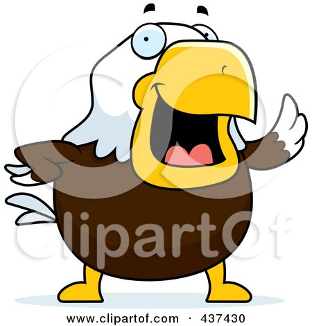 Royalty-Free (RF) Clipart Illustration of a Bald Eagle Waving by Cory Thoman