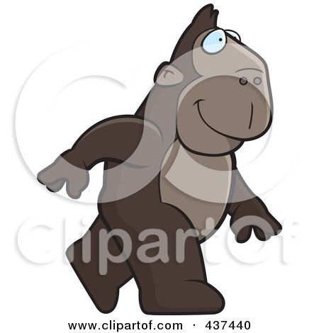 Royalty-Free (RF) Clipart Illustration of a Walking Ape by Cory Thoman