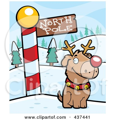 Royalty-Free (RF) Clipart Illustration of a Rudolph Dog By A North Pole Sign by Cory Thoman