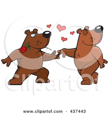 Royalty-Free (RF) Clipart Illustration of a Bear Couple Doing A Romantic Dance by Cory Thoman