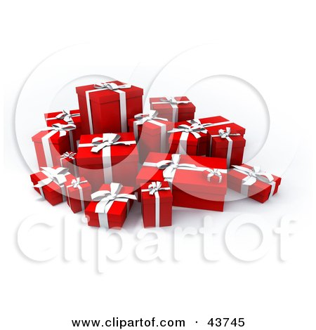 Clipart Illustration of a Group Of Various Sized Gift Boxes With Ribbons by Frank Boston