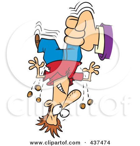 Royalty-Free (RF) Clip Art Illustration of a Hand Shaking Change From A Cartoon Man's Pockets For Taxes by toonaday