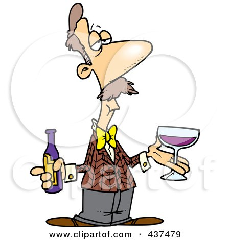 Royalty-Free (RF) Clip Art Illustration of a Cartoon Male Wine Taster by toonaday