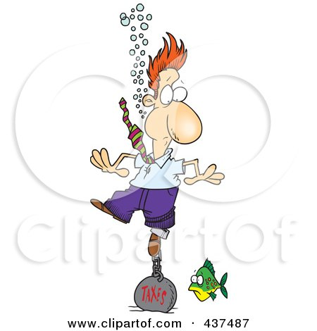 Royalty-Free (RF) Clip Art Illustration of a Cartoon Businessman Drowning In Taxes by toonaday