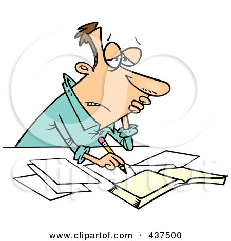Royalty-Free (RF) Clip Art Illustration of a Stressed Cartoon Businessman Doing His Taxes by toonaday