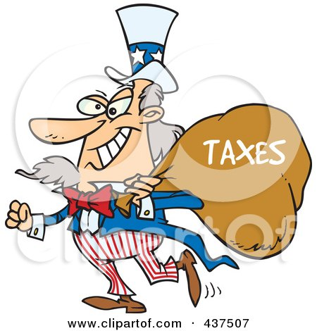 Royalty-Free (RF) Clip Art Illustration of Uncle Sam Grinning And Carrying A Money Bag Over His Shoulder by toonaday