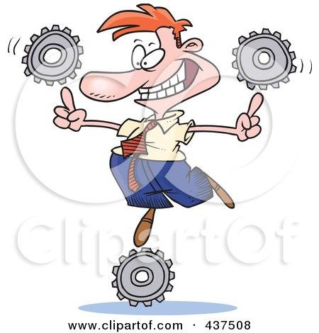 Cartoon Businessman Balancing Technology Gears Posters, Art Prints