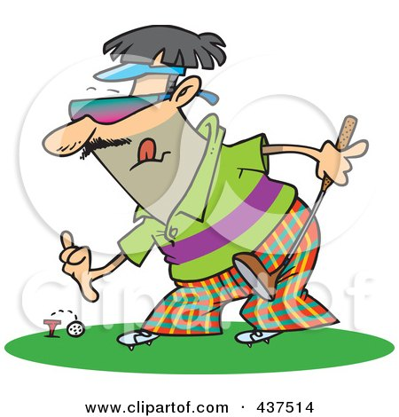 Royalty-Free (RF) Clip Art Illustration of a Man Putting A Golf Ball On A Tee by toonaday