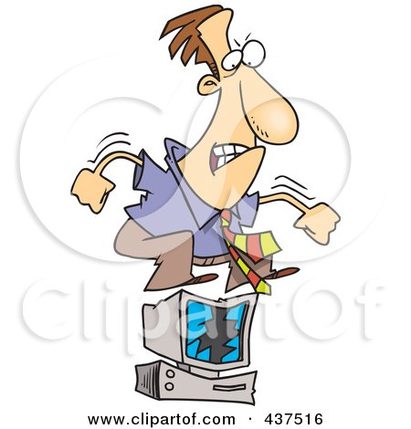 Royalty-Free (RF) Clip Art Illustration of a Stressed Cartoon Businessman Jumping On His Computer by toonaday