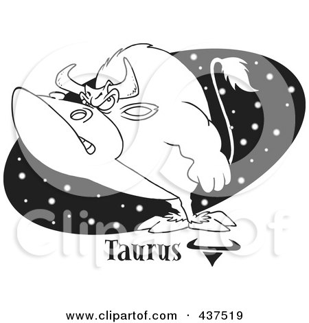 Royalty-Free (RF) Clip Art Illustration of a Black And White Outline Design Of A Taurus Bull Over A Black Starry Oval by toonaday