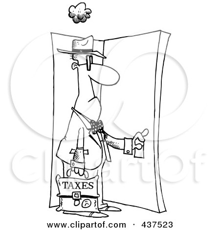 Royalty-Free (RF) Clip Art Illustration of a Black And White Outline Design Of A Tax Man Walking Through A Door by toonaday