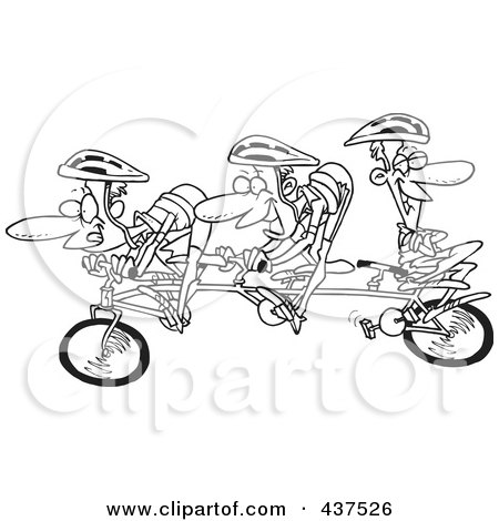Royalty-Free (RF) Clip Art Illustration of a Black And White Outline Design Of A Lazy Man Relaxing On A Tandem Bike While His Partners Cycle by toonaday