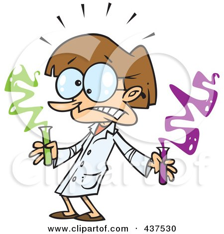Royalty-Free (RF) Clip Art Illustration of a Scared Science Teacher Holding Test Tubes by toonaday