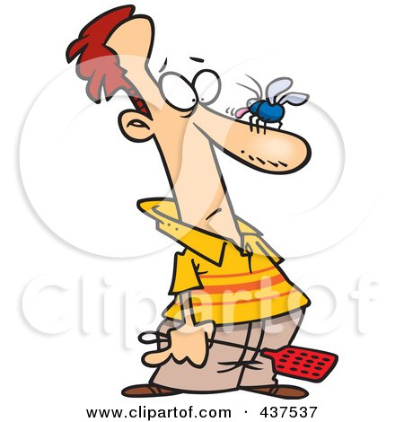 Royalty-Free (RF) Clip Art Illustration of a Cartoon Man About To Whack A Fly On His Nose by toonaday
