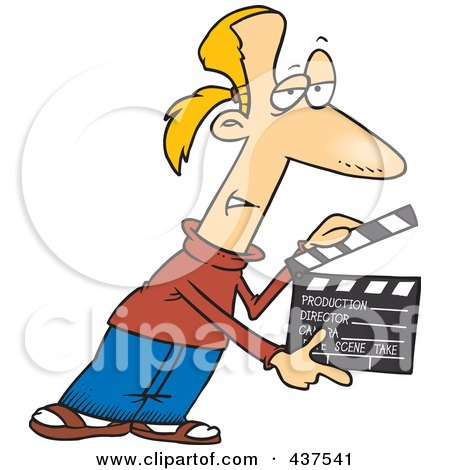 Royalty-Free (RF) Clip Art Illustration of a Cartoon Man Presenting Take 2 With A Clapper by toonaday