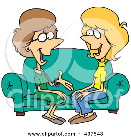 Royalty-Free (RF) Clip Art Illustration of Two Talkative Cartoon Women Sitting On A Sofa by toonaday