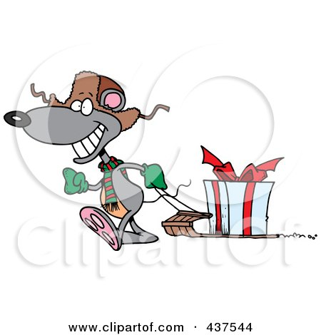 Royalty-Free (RF) Clip Art Illustration of a Black And White Outline Design Of A Mouse Pulling A Christmas Gift On A Sled by toonaday