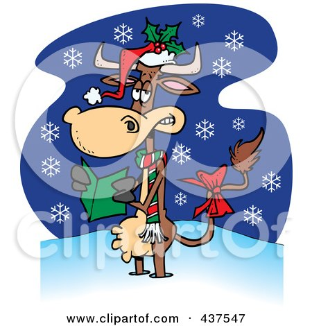 Royalty-Free (RF) Clip Art Illustration of a Christmas Cow In The Snow by toonaday