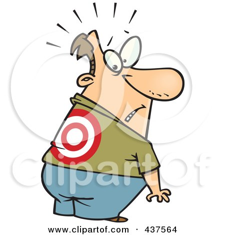 Royalty-Free (RF) Clip Art Illustration of a Cartoon Man Looking At A Target On His Back by toonaday