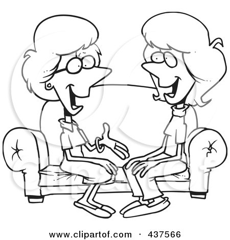 Royalty-Free (RF) Clip Art Illustration of a Black And White Outline Design Of Two Talkative Women Sitting On A Sofa by toonaday