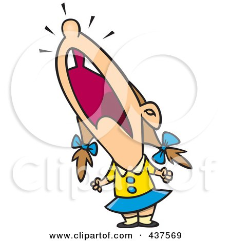 Royalty-Free (RF) Clip Art Illustration of a Cartoon Crying Girl Throwing A Temper Tantrum by toonaday