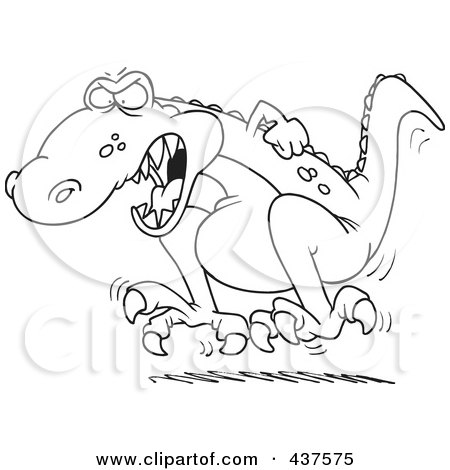 Royalty-Free (RF) Clip Art Illustration of a Black And White Outline Design Of A Tyrannosaurus Rex Throwing A Temper Tantrum by toonaday