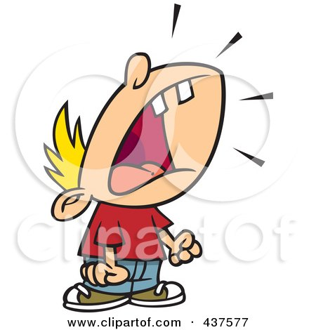 Royalty-Free (RF) Clip Art Illustration of a Cartoon Crying Boy Throwing A Temper Tantrum by toonaday