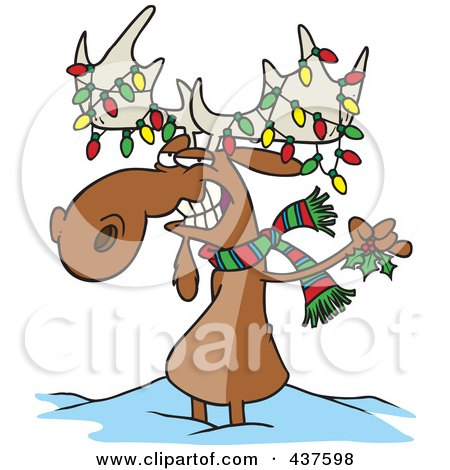 Royalty-Free (RF) Clip Art Illustration of a Decorated Christmas Moose In The Snow by toonaday