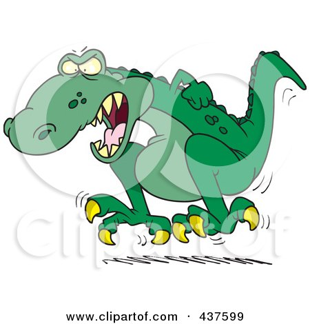 Royalty-Free (RF) Clip Art Illustration of a Cartoon Tyrannosaurus Rex Throwing A Temper Tantrum by toonaday