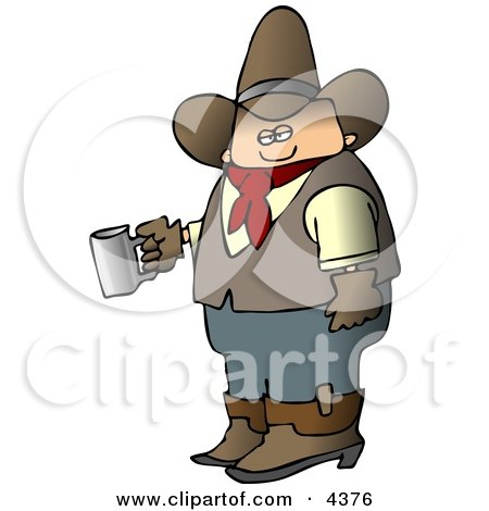 Morning Cowboy Holding a Cup of Fresh Hot Coffee Posters, Art Prints