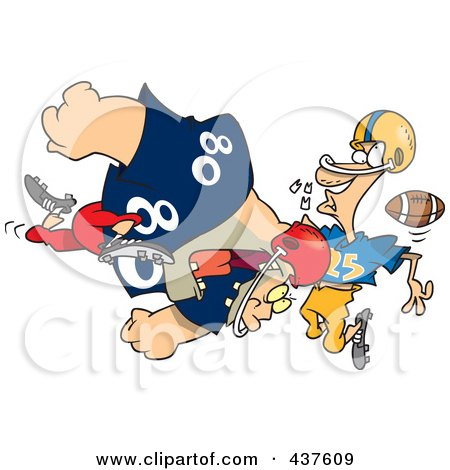 Royalty-Free (RF) Clip Art Illustration of a Football Player Tackling Another And Knocking Out His Teeth by toonaday