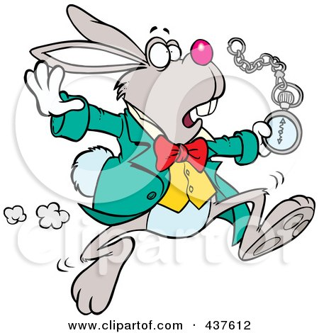 Royalty-Free (RF) Clip Art Illustration of a Tardy Cartoon Rabbit Looking At His Pocket Watch While On The Run by toonaday
