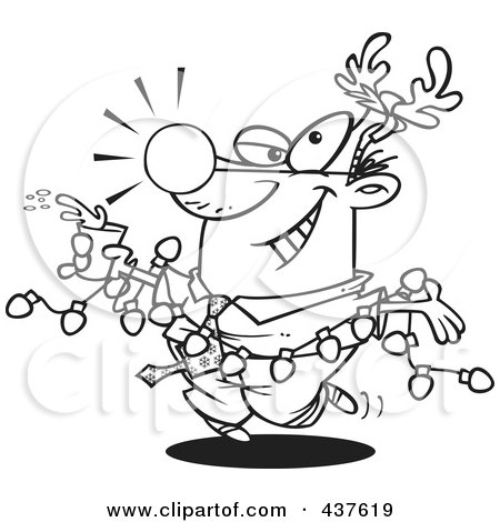 Royalty-Free (RF) Clip Art Illustration of a Black And White Outline Design Of A Businessman Wearing Antlers And Holding A Drink While Draped In Christmas Lights by toonaday
